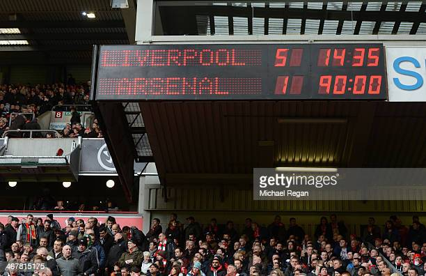 View of the scoreboard showing a 51 Liverpool victory during the Barclays Premier League match between Liverpool and Arsenal at Anfield on February 8...