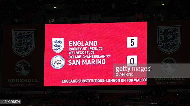 View of the scoreboard showing England's 5-0 victory in the 2014 World Cup qualifying football match between England and San Marino at Wembley...