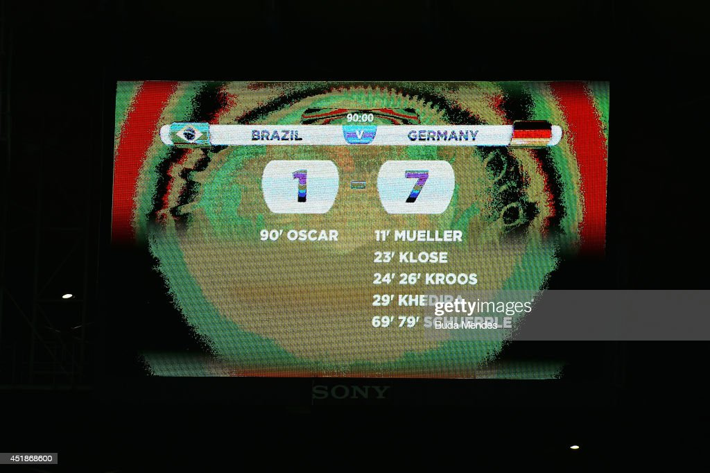 A view of the scoreboard showing Germany's victory with a final score of 7-1 during the 2014 FIFA World Cup Brazil Semi Final match between Brazil and Germany at Estadio Mineirao on July 8, 2014 in Belo Horizonte, Brazil.