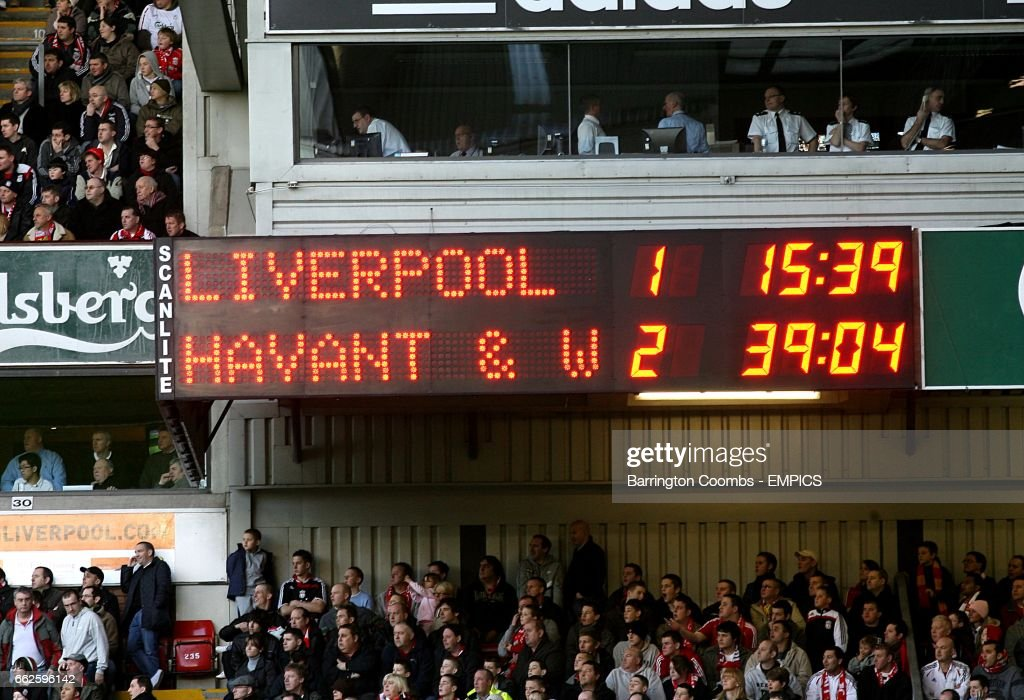 A view of the scoreboard showing Havant and Waterlooville winning 2-1.