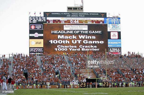 A view of the scoreboard showing head coach Mack Brown of the Texas Longhorns winning his 100th Texas win after the game against Nebraska Cornhuskers...