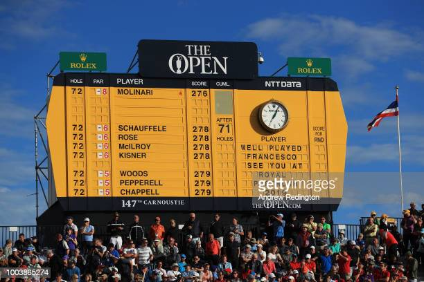 A view of the scoreboard showing the scores and congratulating Francesco Molinari of Italy after he won the 147th Open Championship at Carnoustie...