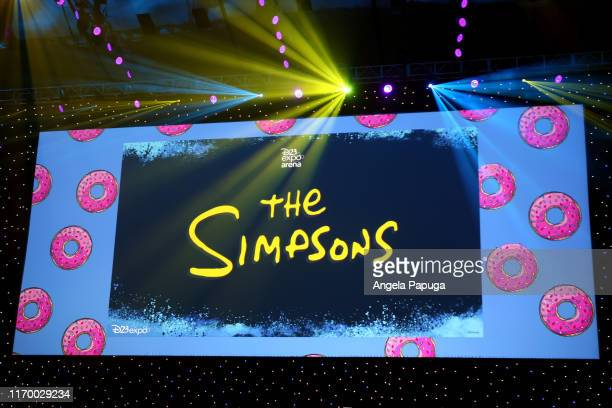 A view of the screen at The Simpsons panel during the 2019 D23 Expo at Anaheim Convention Center on August 24 2019 in Anaheim California