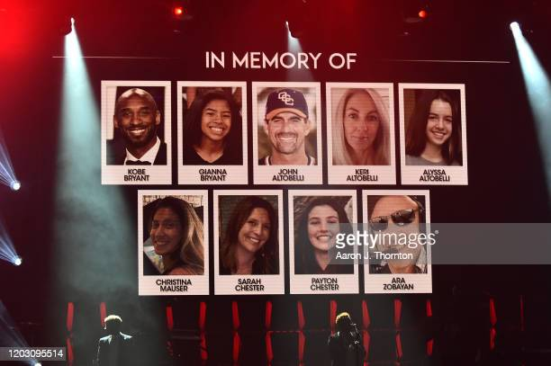 View of the screen during a tribute to victims of the helicopter crash that killed Kobe Bryant during the BET Super Bowl Gospel Celebration at the...