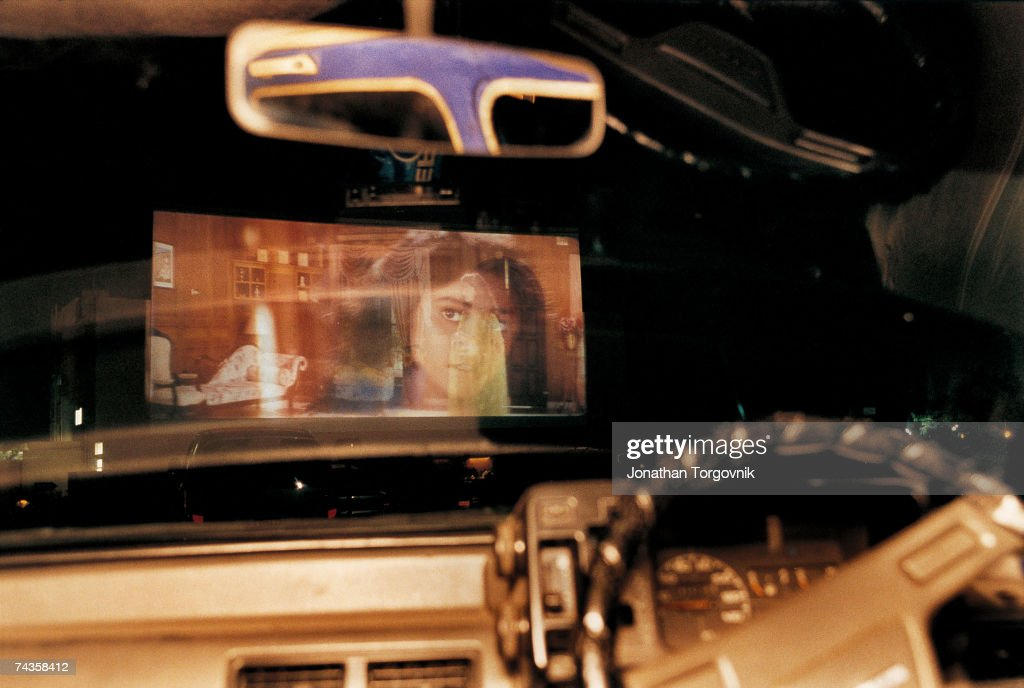 A view of the screen from inside a car at the 'Prarthana' Drive-In Beach Theater January 2000 in Chennai (Madras), India Is the only one in southern India. Channai (Madras)has its own vigorous film industry, with films shot in Tamil, the language of Tamil Nadu.