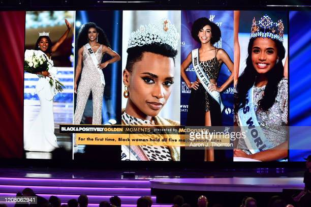 A view of the screen onstage during the 51st NAACP Image Awards Presented by BET at Pasadena Civic Auditorium on February 22 2020 in Pasadena...