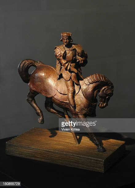 A view of the sculpture Horse and Rider at the World Grand Unveiling Of Leonardo da Vinci's Sculpture Horse and Rider at Greystone Mansion on August...
