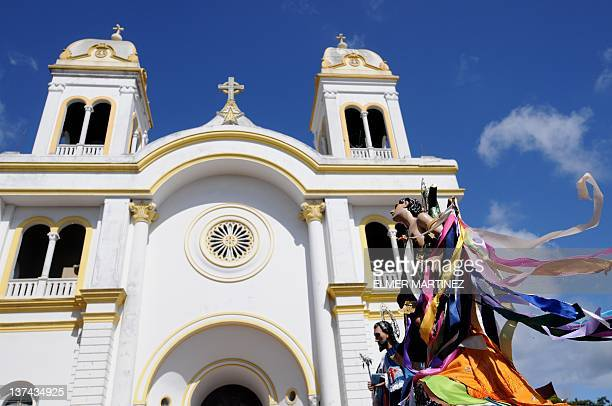 View of the sculpture of Saint Sebastian the city's patron saint during festivities in his honor in Diriamba about 45 km south of Managua on January...