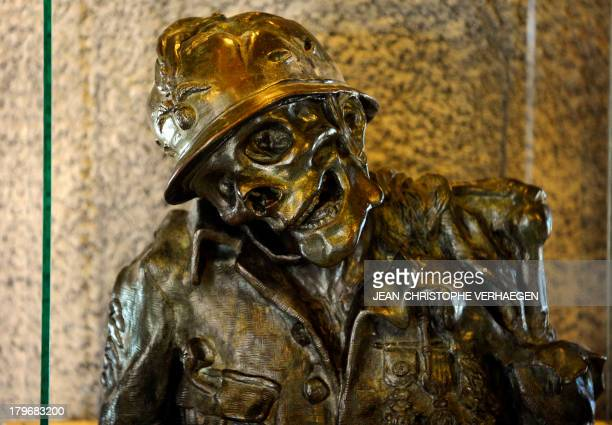 A view of the sculpture 'Vue la guerre' by Henry Charles de Pouvreau Baldry in the ossuary of Douaumont on September 3 in Douaumont eastern France...