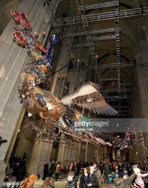 A view of the sculptures 'Feng' and 'Huang' by Xu Bing during 'Phoenix Xu Bing At The Cathedral' Press Preview at The Cathedral Church of St John the...