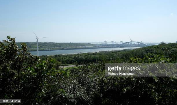 A view of the Sea Forest Waterway which will host the Rowing and Canoe Sprint under construction during the First World Press Briefing for the Tokyo...
