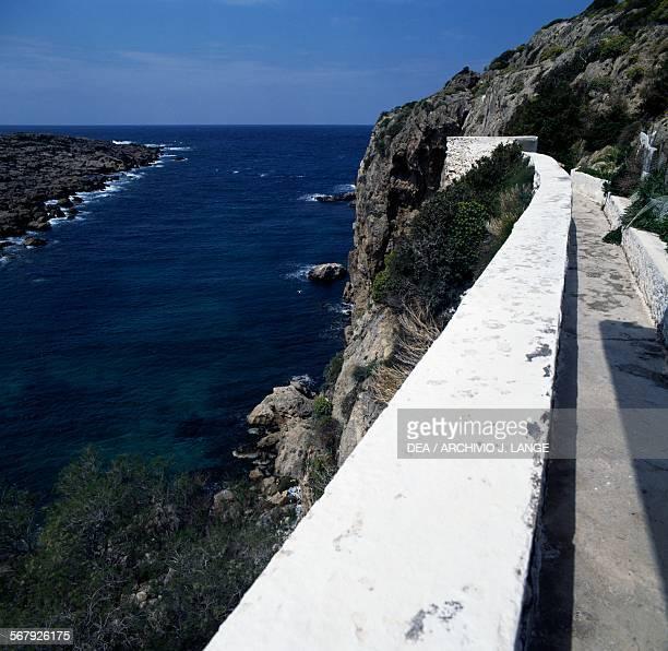 View of the sea from Chrisoskalitissa monastery Crete Greece