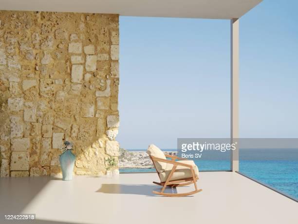 view of the sea from mediterranean villa - culture méditerranéenne photos et images de collection