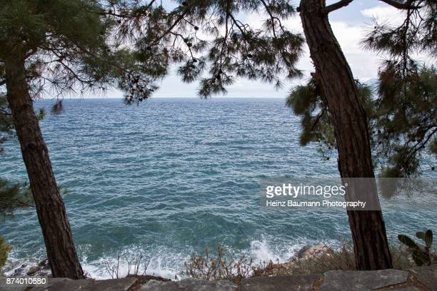 view of the sea from nafplio, (nauplia), peloponnese, greece - heinz baumann photography stock-fotos und bilder
