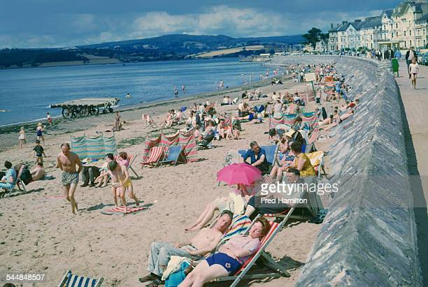 A view of the seafront towards Dawlish Warren Exmouth Devon August 1965