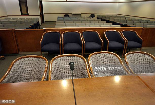 View of the seat Michael Jackson will occupy in Courtroom one day before jury selection begins for the child molestation trial at the Superior Court...