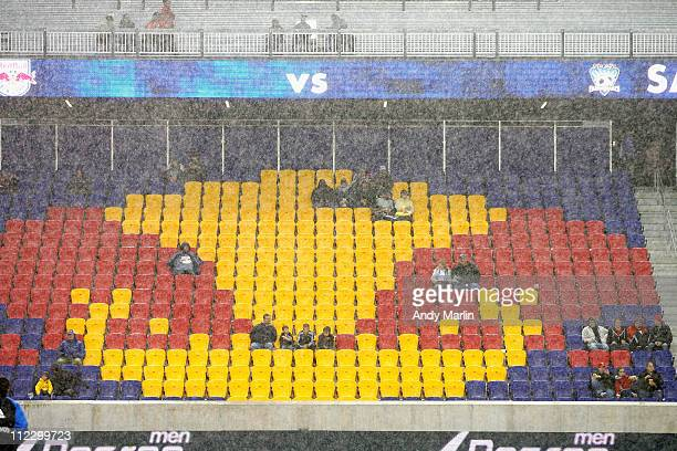 A view of the seats in a heavy rain prior to the start of the game between the San Jose Earthquakes and the New York Red Bulls at Red Bull Arena on...