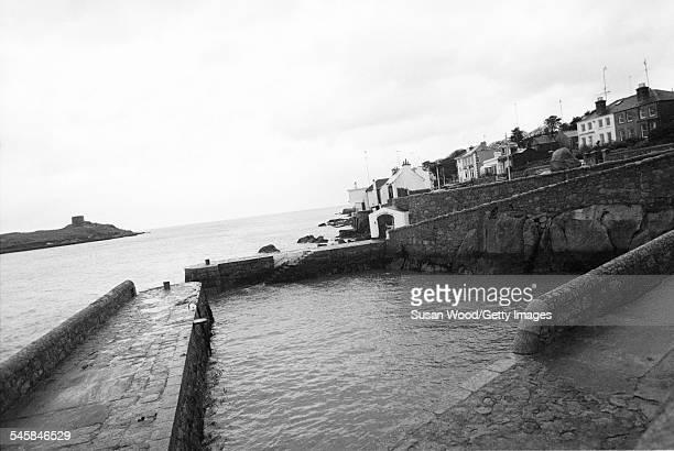 A view of the seawall in Dalkey Dublin Ireland November 1993