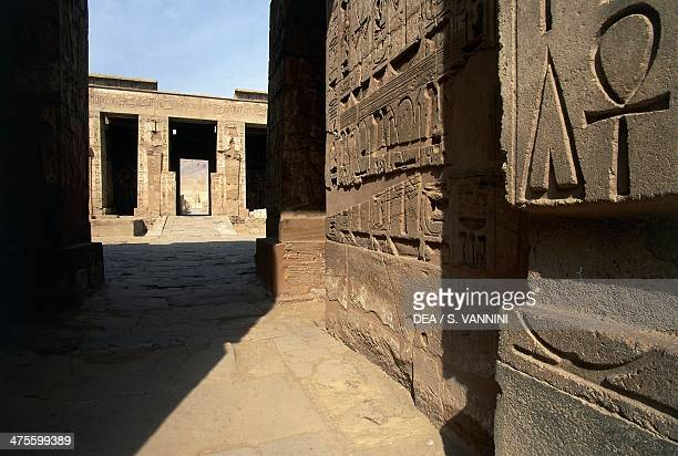 View of the second courtyard Mortuary Temple of Ramesses III Medinet Habu Thebes Egyptian Civilisation New Kingdom 20th Dynasty