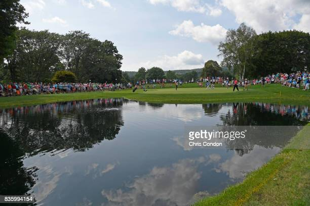 A view of the second green during the final round of the PGA TOUR Champions DICK'S Sporting Goods Open at EnJoie Golf Course on August 20 2017 in...