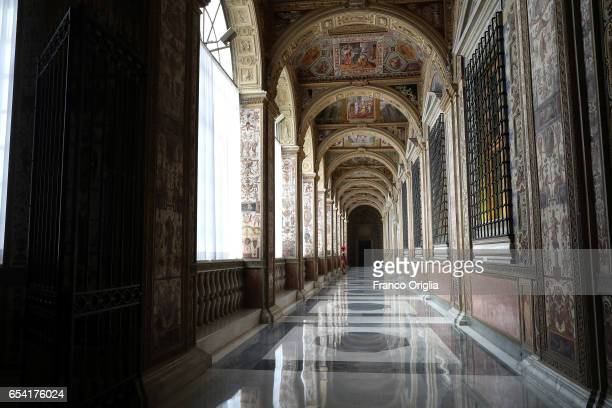 A view of the Second Lodge of the Apostolic Palace on March 16 2017 in Vatican City Vatican The Apostolic Palace is the official residence of the...