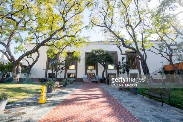 View of the second patio of Downtown Los Angeles Union Station on March 18 where part of the 2021 Oscars Ceremony will take place. - Academy...