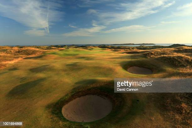 A view of the second shot on the 418 yards par 4 15th hole 'Skerries' on the Dunluce Links at Royal Portrush Golf Club the venue for The Open...
