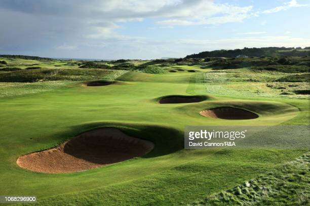 View of the second shot on the 572 yards par 5, second hole 'Giant's Grave' at Royal Portrush Golf Club the venue for The Open Championship 2019 on...