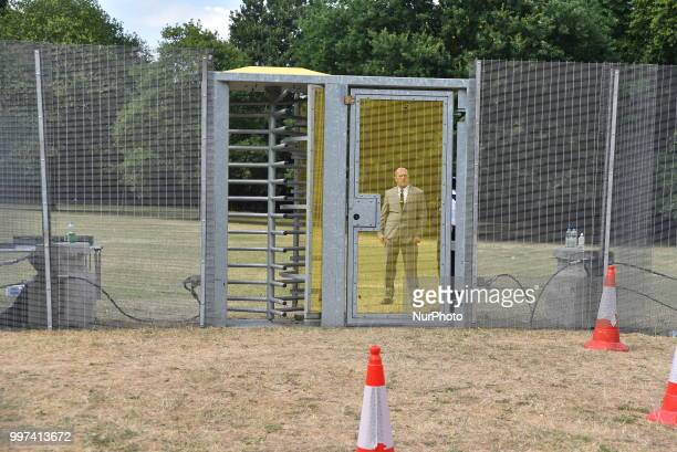 View of the security fencing around Winfield House the London residence of US ambassador Woody Johnson ahead of President Donald Trump and First Lady...
