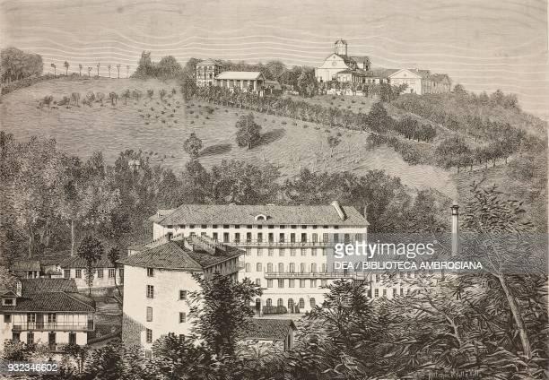 View of the Sella villa and factory Biella Piedmont Italy drawing by Edoardo Matania engraving from L'Illustrazione Italiana No 36 September 5 1880