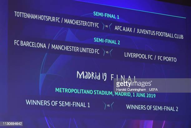 A view of the semifinal and final draw results as shown on the big screen following the UEFA Champions League 2018/19 Quarterfinal Semifinal and...