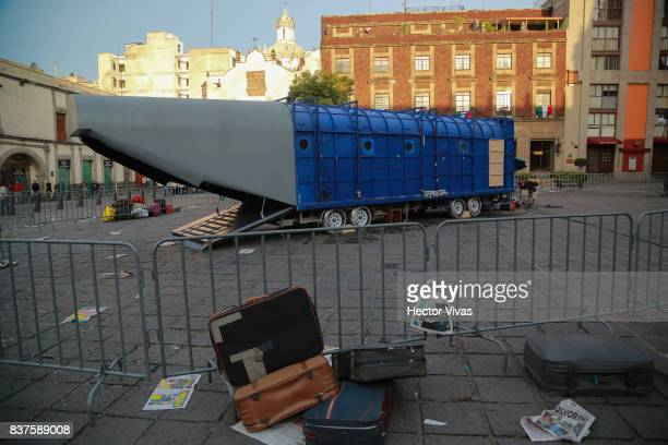 A view of the set during the filming of 'Godzilla King of the Monsters' at Santo Domingo Square on August 22 2017 in Mexico City Mexico