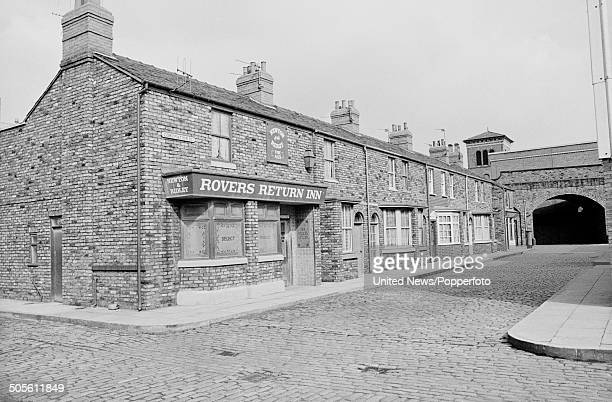 View of the set for the long running television soap opera Coronation Street featuring the Rovers Return Inn located at Granada Studios in Manchester...