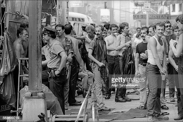 View of the set of the film 'Cruising' at W 14th Street and 9th Avenue New York New York July 26 1979