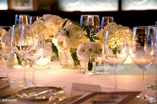 View of the set up for the Stuart Weitzman Cocktail Dinner at Le Grand Defour on April 06 2016 in Paris France