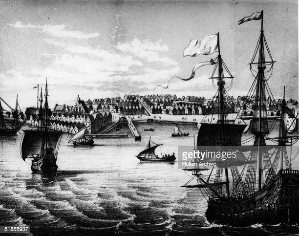 View of the settlement and harbor of New York shows docks and ships along the bustling waterfront three years after it was acquired by the English...