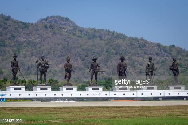 "View of the ""Seven Kings of Siam"" monument depicting King Ram Khamhaeng, King Naresuan, King Narai, King Taksin, King Rama I, King Rama IV and King..."