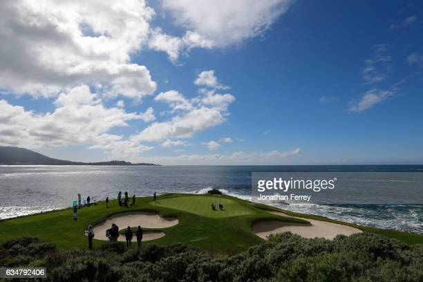 A view of the seventh green during Round Three of the ATT Pebble Beach ProAm at Pebble Beach Golf Links on February 11 2017 in Pebble Beach California