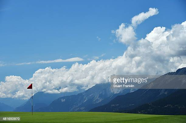 A view of the seventh hole during the first round of the Omega European Masters at CranssurSierre Golf Club on July 23 2015 in CransMontana...