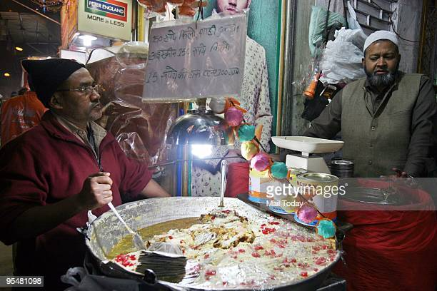 A view of the Shahi Tukre stalls around the Jama Masjid area in New Delhi on Tuesday December 22 2009
