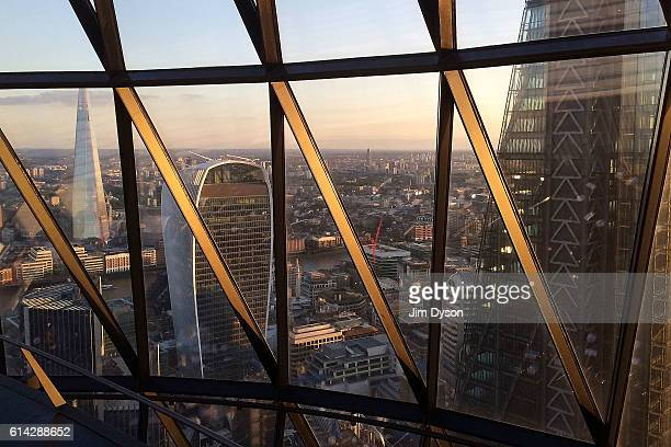 A view of The Shard 20 Fenchurch Street also known as the Walkie Talkie and The Leadenhall Building also known as the Cheesegrater seen from The...