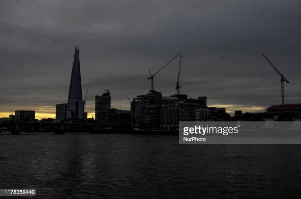 View of The Shard as the sun rises Central London on October 25 2019
