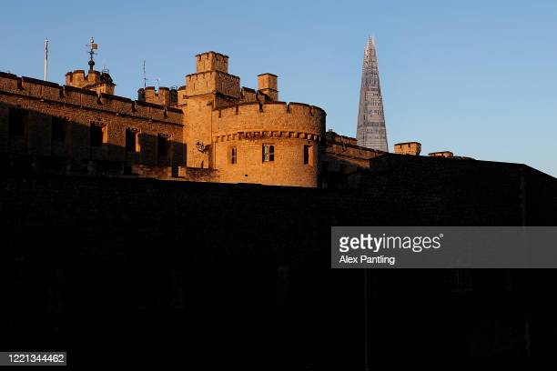 A view of the Shard behind the Tower of London on April 26 2020 in London England The 40th London Marathon was due to take place today with thousands...