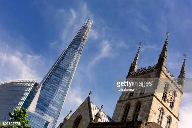 View of the Shard London Bridge and the Southwark Cathedral at day