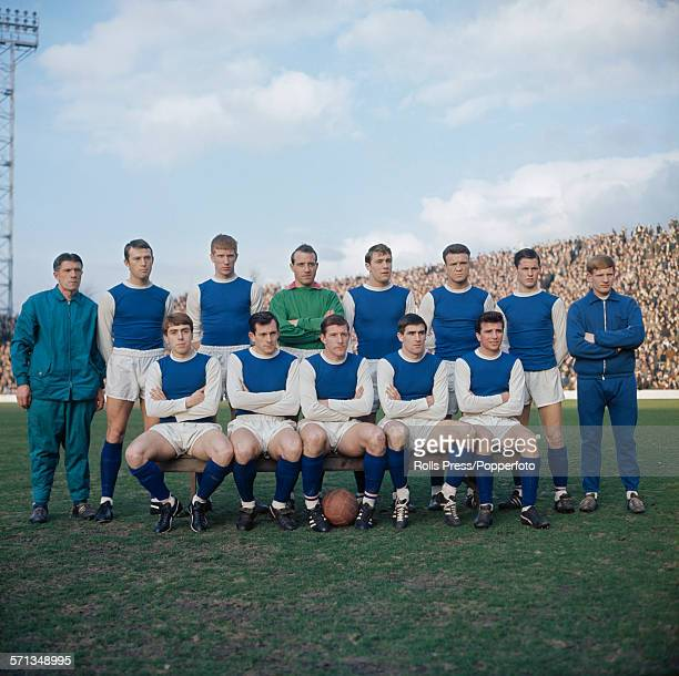 View of the Sheffield Wednesday football team squad posed together on a football pitch prior to their FA Cup final match with Everton in May 1966...