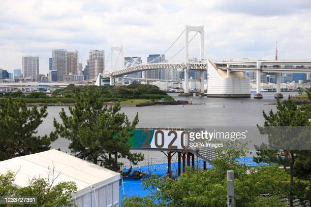 View of the Shiokaze Park in Ariake, Tokyo. 25 Days before the opening ceremony of the Tokyo 2020 Summer Olympic Games many sporting venues and fan...