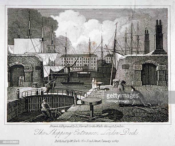 View of the shipping entrance to London Docks, Wapping, 1817.