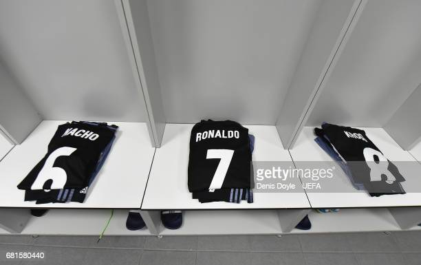 View of the shirt of Cristiano Roanldo of Real Madrid CF in the Real dressing room at the Vicente Calderon stadium for the UEFA Champions League Semi...