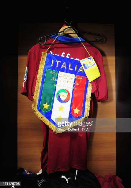 View of the shirt of Gianluigi Buffon and the team pennant in the Italy dressing room prior to the FIFA Confederations Cup Brazil 2013 Group A match...