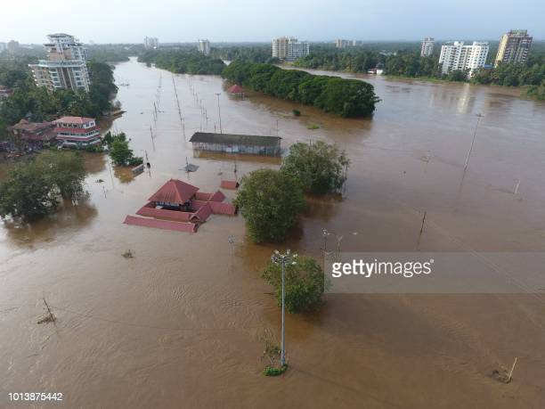 View of the Shiva Temple submerged after the release of water from Idamalayar dam following heavy rains in Kochi on August 9 2018 At least 20 people...